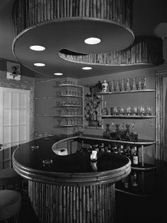 Furniture Settings & Home Interiors display, Tiki bar, Chicago, Illinois, June Tiki Hut, Tiki Tiki, Basement Bar Designs, Basement Ideas, Tiki Decor, House Furniture Design, Tiki Lounge, Bar Plans, Modern Basement