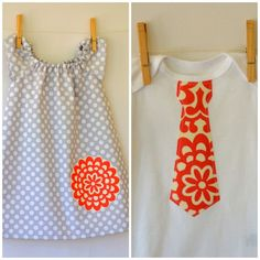 Sibling Set . Twins . Girls Peasant Dress . Boy Tie Tee or Bodysuit . Grey Dot with Wallflower Applique