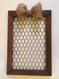 Chicken Wire Frame With Burlap Bow on Etsy, $45.00