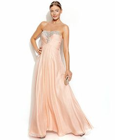 Decode Strapless Embellished Ruched Gown - Juniors Prom Dresses - Macy's