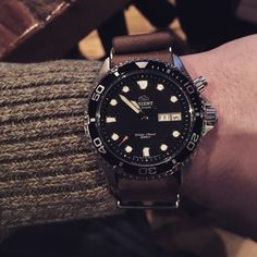 Orient Ray on a Leather NATO - orientwatchusa.com/em65008b