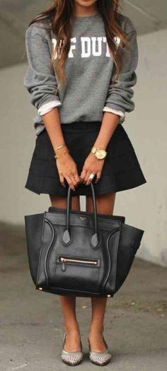 La mode hiver- jupe et pull
