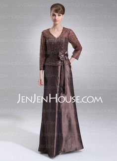 Mother of the Bride Dresses - $154.99 - A-Line/Princess V-neck Floor-Length Taffeta Organza Mother of the Bride Dress With Beading Sequins (008006132) http://jenjenhouse.com/A-Line-Princess-V-Neck-Floor-Length-Taffeta-Organza-Mother-Of-The-Bride-Dress-With-Beading-Sequins-008006132-g6132