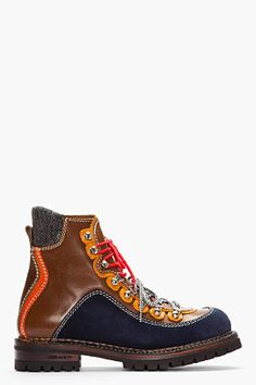 Dsquared2 Brown Leather & Suede Patchworked Military Hiking Boots for men | SSENSE