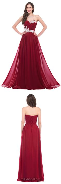 Burgundy Prom Dresses, Sweetheart Prom Dresses, Chiffon Party Gowns, Appliques Lace Evening Dresses, Long Formal Dresses
