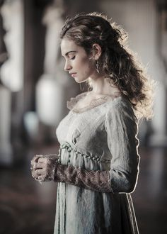 Lily James as Natasha Rostova in War and Peace.