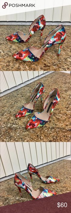 FRENCH CONNECTION ELVIA D'ORSAY FLORAL PUMPS 8.5 Very Pretty French Connection Leather Elvia D'Orsay Fracture Floral Print Classis Style High Heels. Multi Colors, Easy To Match. Worn Once. No Flaws. They Are Too Big On Me. Purchased From Saks 5th Ave. Sold Out In Stores. French Connection Shoes Heels