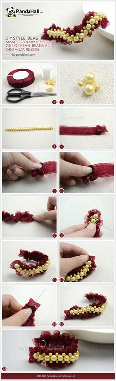 How to come up with really fascinating diy style ideas? Choose the organza ribbon and pearl beads. These two distinctive stuffs may totally contribute an amazing cool diy bracelets pattern.