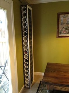 Items similar to Hand made wine racks with chalk board siding on Etsy - may be wine rack…but great for stablizers! Hand made wine racks with chalk board siding by Dexter - Diy Furniture, Diy Storage, Home Decor, Craft Room Organization, Home Diy, Wine Rack, Vinyl Storage, Diy Wine, Diy Wine Rack