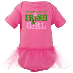 Infant Tutu Bodysuit Irish St. Patrick's Day design with shamrocks and pink and green text that says EVERYONE LOVES AN IRISH GIRL. Perfect for St. Patrick's Day celebrations and parades. Personalize it for a one of a kind gift. $34.99 www.pinkinkartkids.com