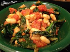 Quick White Bean Stew with Kale and Tomatoes | Scrumptious! | Fast, Easy | Hearty & ONLY 159 Calories | Satisfying | 8 g Fiber & Protein-packed | For MORE RECIPES please SIGN UP for our FREE NEWSLETTER www.NutritionTwins.com