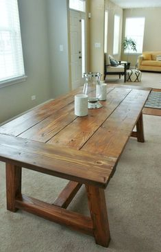 We Built a Farmhouse Dining Room Table. We Built a Farmhouse Dining Room Table. Picnic table to bench - 10 Foot Farm Table with Reclaimed Barn Wood farm table plans free Farmhouse Dining Room Table, Diy Dining Table, Diy Coffee Table, Kitchen Chairs, Dining Rooms, Diy Kitchen Tables, Dining Set, Farm Table Diy, Kitchen Decor
