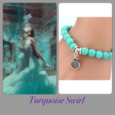 Turquoise Swirl Bracelet Mesmerize with this Delaware stone bracelet, with silver swirl detail charm Jewelry Bracelets