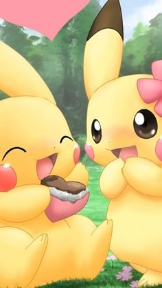 They are Partner Pikachu, the cute Electric-type Starter Pokemon of Kanto that don't want to evolve. Pika power on! Pokemon Go, Pikachu Pikachu, Pikachu Mignon, Anime Pokemon, Anime Kawaii, Pokemon Fusion, Pokemon Cards, Pokemon Backgrounds, Cool Pokemon Wallpapers