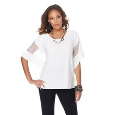 """Antthony """"Adella"""" Jersey Knit Blouse with Lace Trim"""