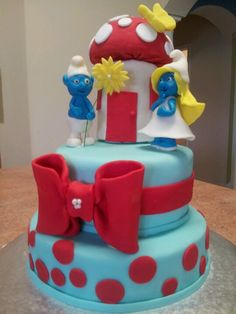 Smurf Cake @Ana Mireles This is probably way difficult but soo cute!!!