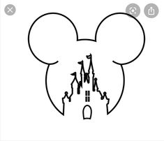 This would be so cute for a Disney fan Mickey Mouse Drawing Easy, Mickey Mouse Drawings, Mickey Mouse Wallpaper, Mickey Mouse Head, Disney Drawings, Disney Wallpaper, Mickey Mouse Outline, Disney Mickey Mouse, Castle Drawing Easy