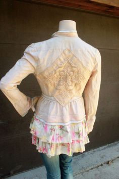 Shabby Chic Jacket. Don't know if the ruffles are attached or separate, but would be cute attached.
