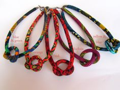 27 inches fabric cord necklace  / wax print fabric necklace  / Choker necklace/ / choose color
