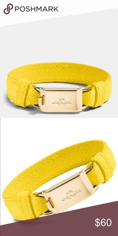 Yellow Leather Horse And Carriage Id Bracelet Brand new condition. No scratches. Never worn. Coach Jewelry Bracelets