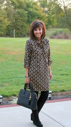 Shift dress with black leggings and boots for fall.