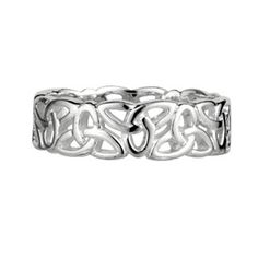 Silver Trinity Knot Ring S2444 Sterling silver ring with alternating trinity knots. $66 CAD. The trinity knot, like the triskele, represents the sacredness of things that come in threes.Some of the most common representations are the Holy Trinity, the Triple Goddess, Mind,Body, & Soul, or Past, Present, & Future. Sometimes a circle will encompass the trinity knot, which further represents the unity of the three. #celticrings #celticjewellery #celticweddings #silverrings #trinityknot