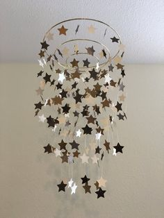 bronze gold ivory shimmery star mobile, dorm room decor,photo prop, crib mobile, teen room decor, outer space theme, galaxy, twinkle twinkle