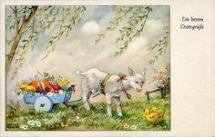 vintage Easter postcard, art by Hannes Petersen