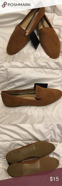 Camel Slip-on Loafers NWT-size 9 but fit more like an 8 1/2-never worn-Camel colored faux sued with camel sticking around edges-cushion sole for comfort SOFREE Shoes Flats & Loafers
