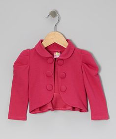 Take a look at this Pink Gathered Shoulder Ruffle Jacket - Toddler & Girls by Lele for Kids on #zulily today!