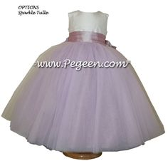 Light plum silk ballerina style Flower Girl Dresses by Pegeen.com with layers and layers of tulle