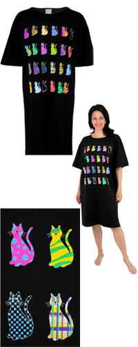 Funds 28 bowls of food. Rainbow Cats Nightshirt at The Animal Rescue Site