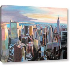 Markus Bleichner New York City Skyline in Sunlight Gallery Wrapped Canvas, Size: 18 x 24, Silver