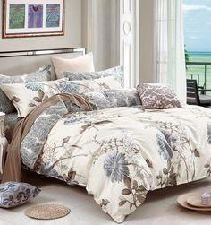 Swanson Beddings Floral Print Cotton Bedding Set: Duvet Cover and Two Pillow Shams (Cream-Gray, King) Bedroom Comforter Sets, Duvet Bedding Sets, Comforter Cover, Duvet Covers, Luxury Bedding Sets, Cream Bedding, Blue Bedding, Cotton Bedding Sets, Bed Sets