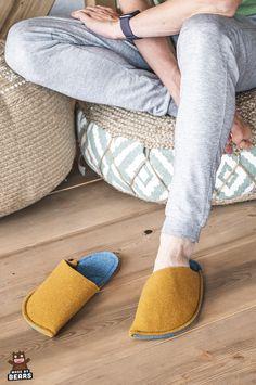 Slippers for men. House slippers made of wool felt. Great for men and women. #slippers #slippersmen #menslippers #mustardyellow #houseslippersmen Felted Slippers, Mens Slippers, Fuzzy Slippers, Cozy Home Office, Office Decor, Yellow Slippers, Cozy Christmas, Christmas Decor, Natural Rubber Latex