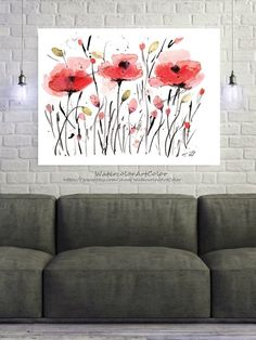 Watercolor Painting Poppies Printable Art Flower Illustration image 4 Watercolor Paintings, Original Paintings, Wall Art Prints, Fine Art Prints, Wall Art For Sale, Pink Art, Art Market, Gloss Matte, Daily Inspiration
