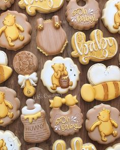 Classic Winnie The Pooh Baby Shower Cookies.Kara's Party Ideas Rustic Chic Classic Winnie The Pooh . Winnie The Pooh Party Haycorn Chocolates Hershey Kiss . Classic Winnie The Pooh Cookies PoohCookies Baby Shower. Home and Family Baby Shower Brunch, Boy Baby Shower Themes, Baby Shower Fun, Baby Shower Parties, Unisex Baby Shower, Baby Shower Yellow, Baby Showers, Winnie The Pooh Themes, Winnie The Pooh Birthday