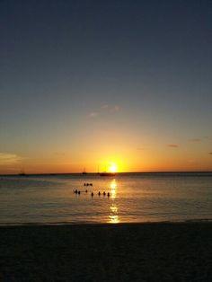 Sunset over the Caribbean Ocean. ♡Aruba♡