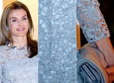 Letizia wore a lacy dress, with beaded jewelry and a clutch.