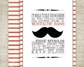 MUSTACHE BASH Boy BIRTHDAY Barber Shop Style Invitation Party Digital diy Printable Cards - 84876426