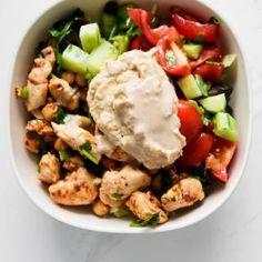 Mediterranean Meal Prep Bowls Recipe - Her Highness, Hungry Me Healthy Chicken Dinner, Easy Healthy Dinners, Healthy Meal Prep, Easy Healthy Recipes, Lunch Recipes, Eat Healthy, Vegan Recipes, Pizza Und Pasta, Mediterranean Diet Recipes