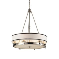 Provide your home with a lighting fixture that is sure to stand out with the Trump Home Tribeca six-light pendant. This magnificent lighting fixture is completed by sleek polished nickel finish and neutral tone shade.