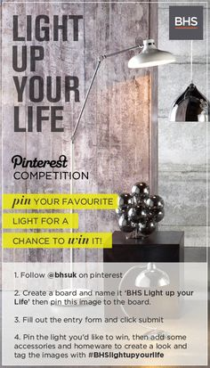 Pin for your chance to win with the BHS 'Light up your life' competition Bhs Home, Competitions Uk, Retro Living Rooms, Easter Hunt, Create A Board, Cash Money, Your Life, Handmade Crafts, Light Up