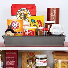 Store items used for similar purposes (like baking ingredients and pans) together so they're easy to grab while you bake!