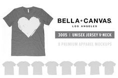 Bella Canvas 3005 V-Neck Mockups by Pixel Sauce on @creativemarket