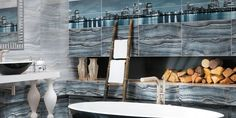 Керамическая плитка Аризона от Керамин для ванной (голубая, серая), фото   Минск