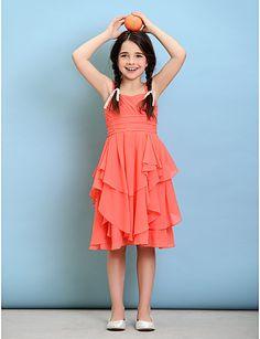 Knee-length Chiffon Junior Bridesmaid Dress - A-line Straps – USD $ 79.99