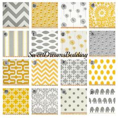 Custom Crib Bedding You Design   Bumper and Bedskirt in Gray and Yellow on Etsy, $229.00
