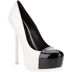 Not a big fan of white shoes but, THESE, I can handle!  SAINT LAURENT 'Tribtoo' pump