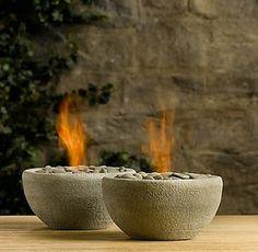 Concrete fire bowls.